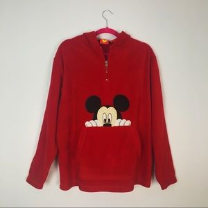 Disney Mickey Mouse Fleecy Sweater Zip Up Red M